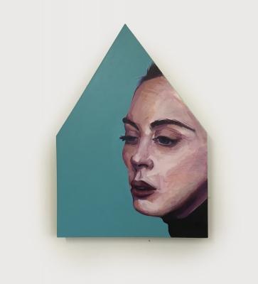 Blue Girl, Acrylic, wood, canvas (30x21) 2018