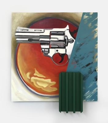 Over-easy, Acrylic, canvas, wood,36x39.5x4.5, 2018
