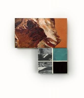 Mountains, Acrylic, wood, canvas (16x17) 2018