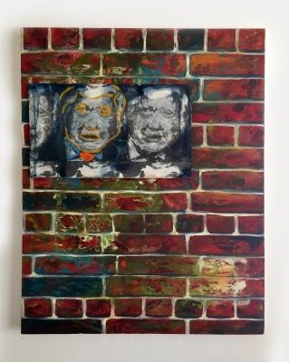 Alt-Fiction, Oil, canvas, photo-transfers,wood, 36x48, 2017