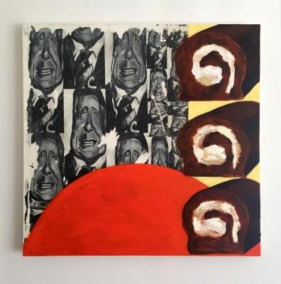 OptimisticSunrise, Oil, canvas, photo-transfers, 30x30, 2017