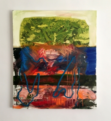 Shake-N-Bake, Oil, canvas, photo-transfers, 22x18, 2017