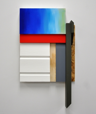 """Clean & Blue"", Oil, wood, drywall, acrylic, vinyl siding, 30x17, 2016"