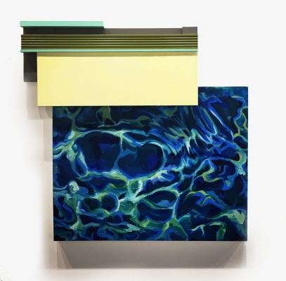 """Pool"", Acrylic, oil, wood, canvas, crown molding, 34x34.5, 2016"
