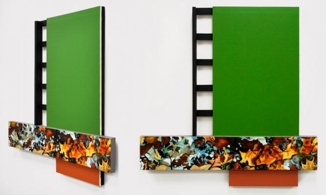 """Green & Leaves"", Oil, acrylic, wood, drywall, 42x41.5, 2016"