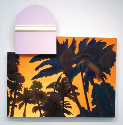 """""""A Nice House in a Tropical Place"""" Oil, crown molding, drywall, house paint, on canvas, 50 x 49, 2015"""