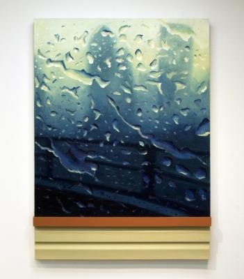 """""""Safetybelt"""" Oil, wood, vinyl siding on canvas, 55 x 40, 2015"""